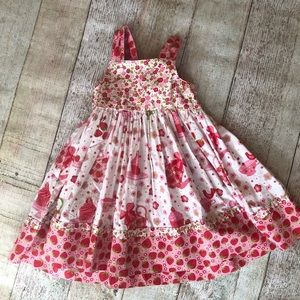 Jelly The pug Strawberry tea party knot dress 3t🍓
